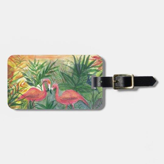 Pink Flamingos Florida Art Luggage Tag