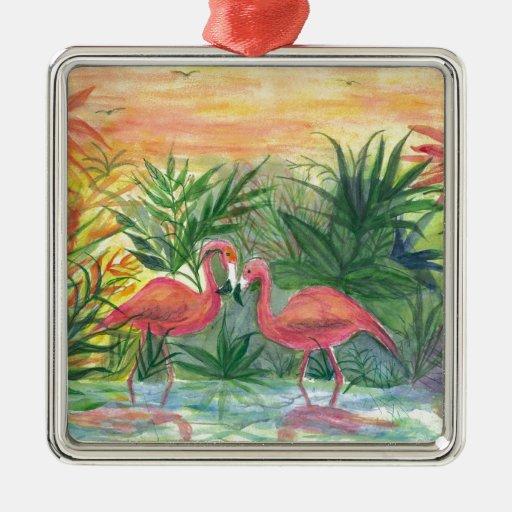 Pink Flamingos Florida Art Square Metal Christmas Ornament