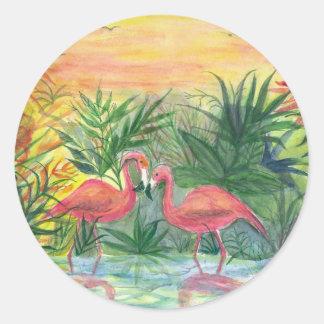 Pink Flamingos Florida Art Round Stickers