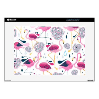 Pink Flamingos & Flowers Seamless Pattern Decal For Laptop