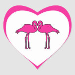 Pink Flamingos Heart Stickers