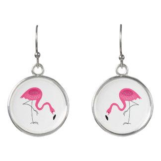 Pink Flamingos Illustration Earrings