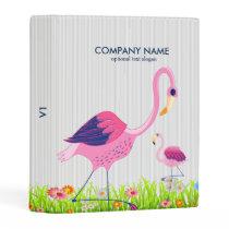 Pink Flamingos Illustration & Spring Flowers Mini Binder