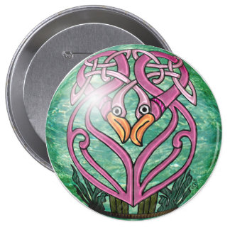 Pink Flamingos in a Celtic Knot Pinback Button