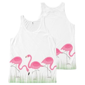 Pink Flamingos In Green Grass All-Over Print Tank Top