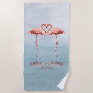 Beach Themed Pink Flamingos in Love Beach Towel