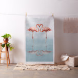 Pink Flamingos in Love Tapestry Fabric