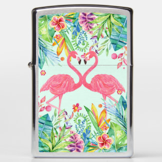 Pink Flamingos In Tropical Flowers Zippo Lighter