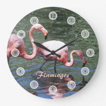 Pink Flamingos Large Clock
