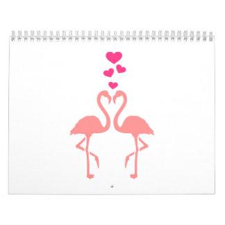 Pink flamingos love hearts calendar