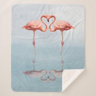 Pink Flamingos Love Medium Sherpa Fleece Blanket