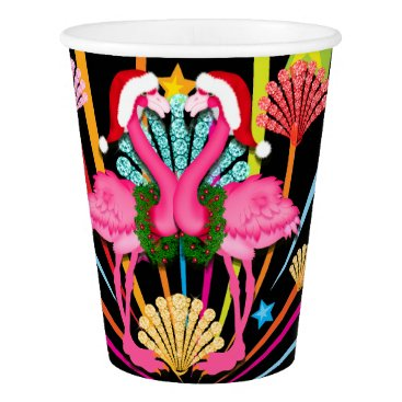 Beach Themed Pink Flamingos Merry and Pink Holiday Cups