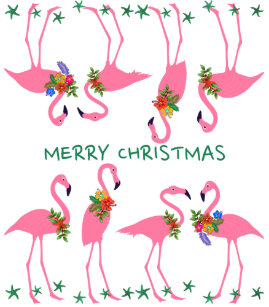 pink flamingos merry christmas pattern wrapping paper