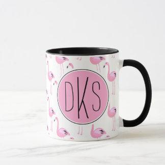 Pink Flamingos | Monogram Mug