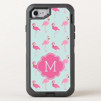 Pink Flamingos Monogrammed OtterBox Defender iPhone 7 Case