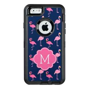 Pink Flamingos Monogrammed Otterbox Defender Iphone Case by heartlocked at Zazzle