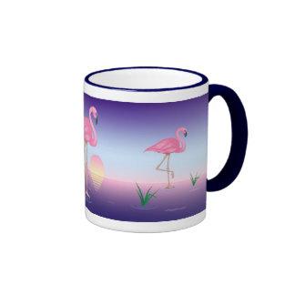Pink Flamingos Ringer Coffee Mug
