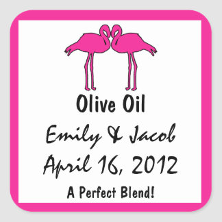 Pink Flamingos Olive Oil Favor Tags