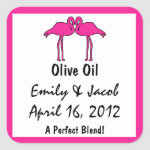 Pink Flamingos Olive Oil Favor Tags Stickers