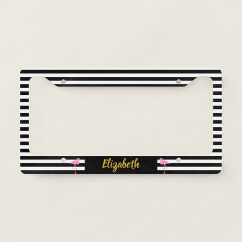 Pink Flamingos on Black and White Striped License Plate Frame