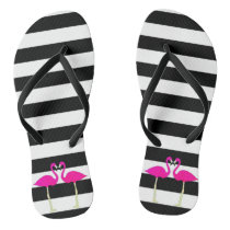 Pink Flamingos On Black and White Stripes Flip Flops