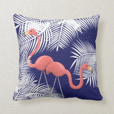 Beach Themed Pink Flamingos on Navy Blue and White Palm Leaves Throw Pillow