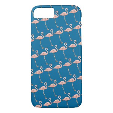 Beach Themed Pink Flamingos on Parade on Blue or Pick Color iPhone 7 Case