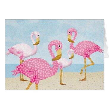 Beach Themed Pink Flamingos on the Beach Card