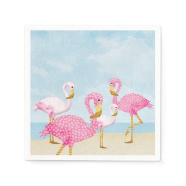 Beach Themed Pink Flamingos on the Beach Paper Napkin