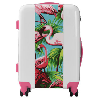 Pink Flamingos on Tropical Blue Luggage