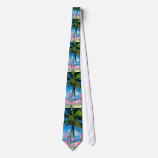Pink Flamingos & Palm Tree Men's Tie