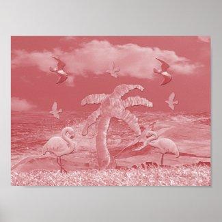 Pink Flamingos Palm Tree