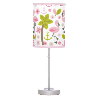 Pink Flamingos + Palm Trees Lamp