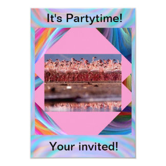 Pink Flamingos partytime invitations