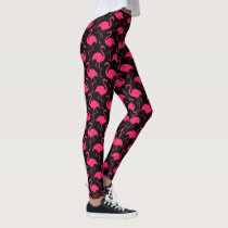 Pink Flamingos Pattern Leggings