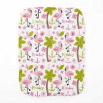 Pink Flamingos Personalized Burp Cloth