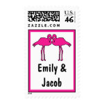 Pink Flamingos Personalized Wedding Postage