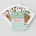 "Pink Flamingos Polka Dots Playing Cards<br><div class=""desc"">Pretty personalized pink flamingos,  tropical flowers and leaves and polka dots.</div>"