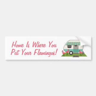 Pink Flamingos & Retro Camper Bumper Sticker Car Bumper Sticker