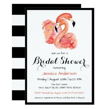 Pink Flamingos Retro Style Bridal Shower Card