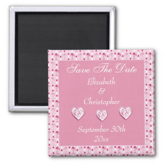 Pink Flamingos Save The Date Wedding Magnet