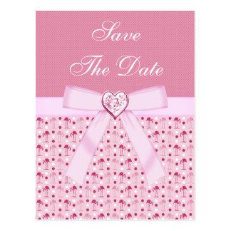 Pink Flamingos Save The Date Wedding Postcard