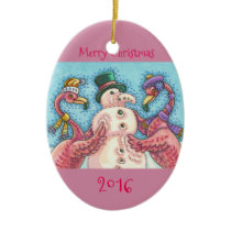 Pink Flamingo's Snowman CHRISTMAS ORNAMENT * Dated