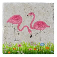 Pink Flamingos Spring Flowers Illustration Trivet