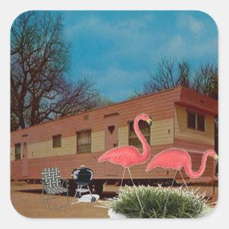Pink Flamingos Square Sticker