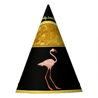 Pink Flamingos standing gold foil texture 1 Party Hat