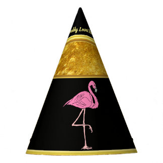 Pink Flamingos standing with gold foil texture 3 Party Hat