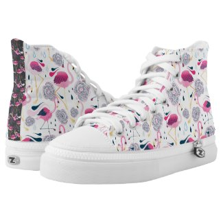 Pink Flamingos Stylized tropical Flowers Pattern Printed Shoes
