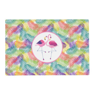 Pink Flamingos & Stylized Tropical Palm Leafs Placemat