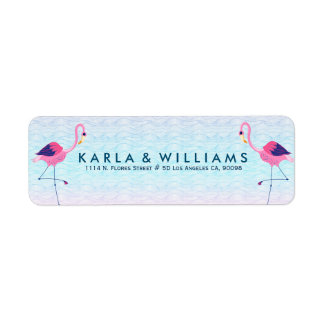 Pink Flamingos & Stylized Water Waves Label
